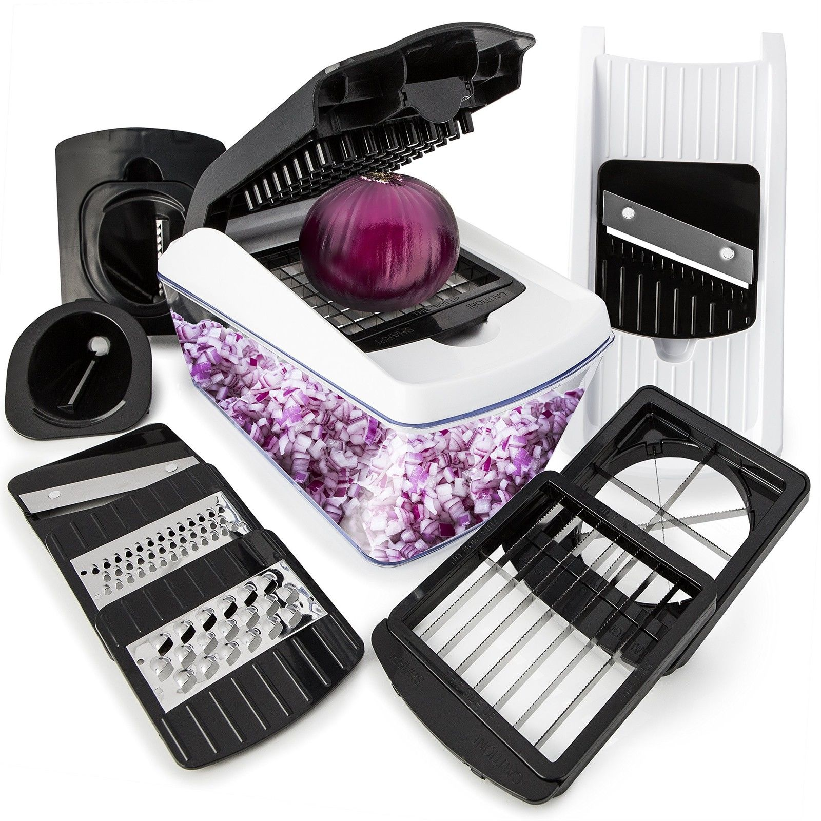 Vegetable Chopper Mandoline Spiralizer Slicer - 8-in-1 Kitchen Pro